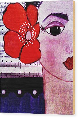 Senorita Con Flor Wood Print by Mela Lucia