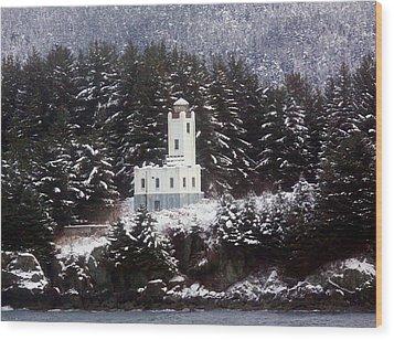 Sentinel Island Lighthouse In The Snow Wood Print by Myrna Bradshaw