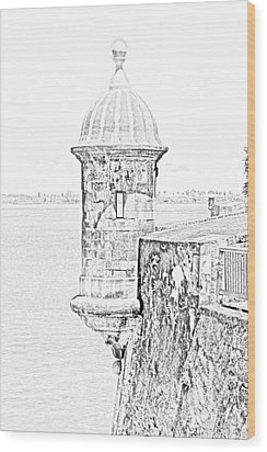 Sentry Tower Castillo San Felipe Del Morro Fortress San Juan Puerto Rico Line Art Black And White Wood Print by Shawn O'Brien