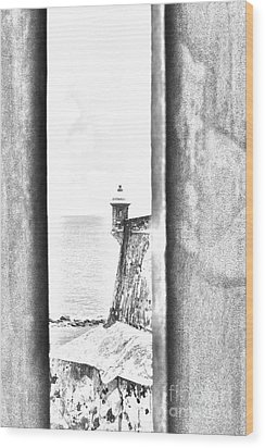 Sentry Tower View Castillo San Felipe Del Morro San Juan Puerto Rico Black And White Line Art Wood Print by Shawn O'Brien