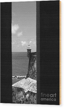 Sentry Tower View Castillo San Felipe Del Morro San Juan Puerto Rico Black And White Wood Print by Shawn O'Brien