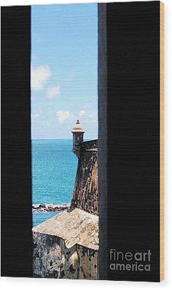 Sentry Tower View Castillo San Felipe Del Morro San Juan Puerto Rico Ink Outlines Wood Print by Shawn O'Brien