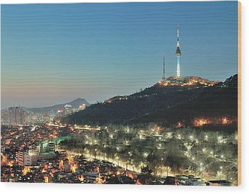 Seoul Tower At Night Wood Print by Tokism