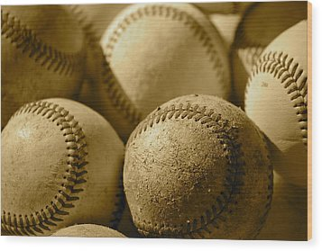 Sepia Baseballs Wood Print by Bill Owen