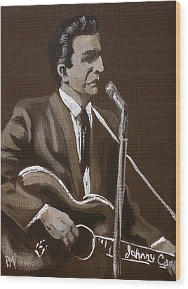 Sepia Johnny Wood Print by Pete Maier
