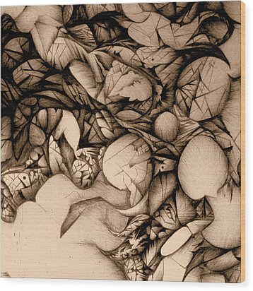 sepia VINTAGE BALLPOINT DETAIL Wood Print by Jack Dillhunt