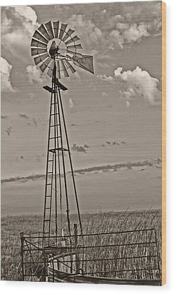 Sepia Windmill And Tank Wood Print by Tony Grider