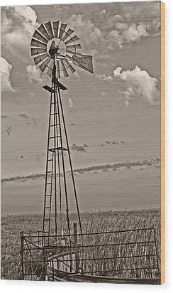 Sepia Windmill And Tank Wood Print