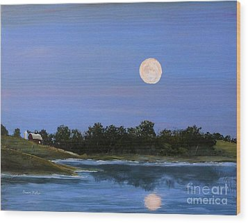 Wood Print featuring the painting September Moon by Susan Fisher