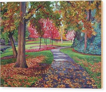 September Park Wood Print by David Lloyd Glover