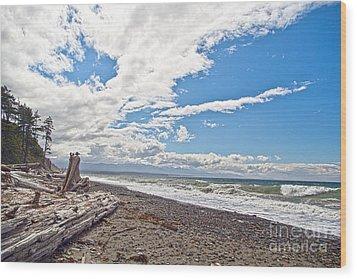 Sequim Beach Wood Print by Molly Heng