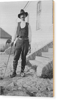 Serbian Man Wearing Hat, Vest, Belted Wood Print by Everett