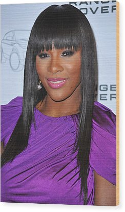 Serena Williams At Arrivals For Range Wood Print by Everett