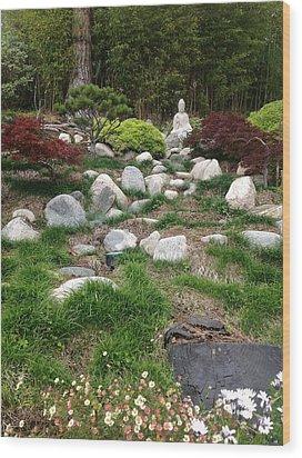 Serene Buddha Wood Print by Kat Ballou