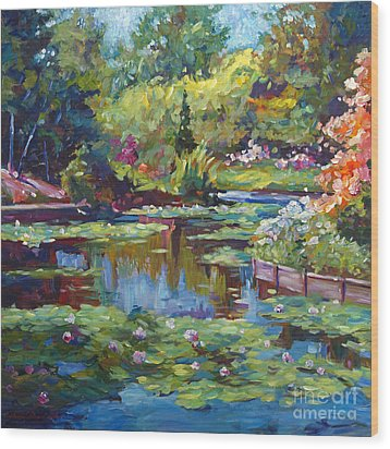Serenity Pond Wood Print by David Lloyd Glover