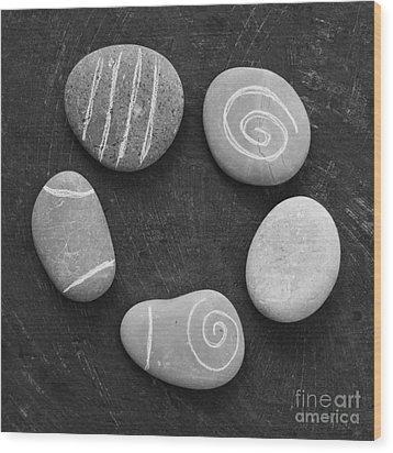 Serenity Stones Wood Print by Linda Woods