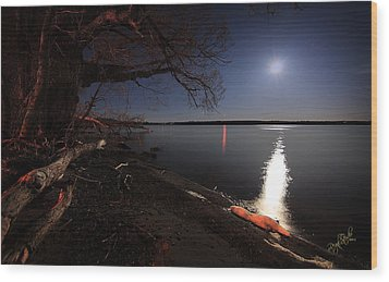 Setting Moon Wood Print by Everet Regal