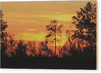 Setting Sun Wood Print by Karen Harrison