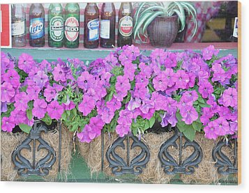 Seven Bottles Of Beer On The Wall Wood Print by Jan Amiss Photography