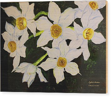 Wood Print featuring the painting Seven Daffodils by Itzhak Richter