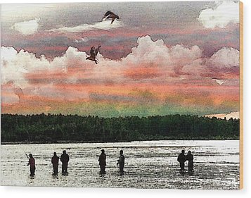 Seven Fishermen Wood Print by Carrie OBrien Sibley