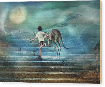 Seven Steps To The Moon Wood Print by Trudi Simmonds