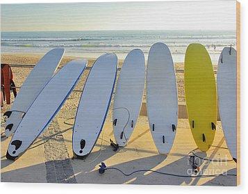 Seven Surfboards Wood Print by Carlos Caetano