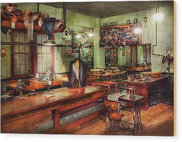 Sewing - Industrial - The Sweat Shop  Wood Print by Mike Savad