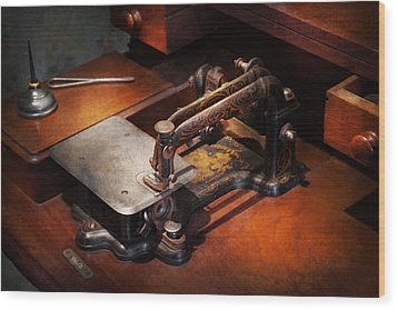 Sewing Machine - Sewing For Small Hands  Wood Print by Mike Savad