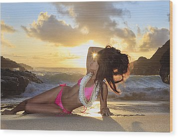 Sexy Woman At Eternity Beach Wood Print by Tomas del Amo - Printscapes