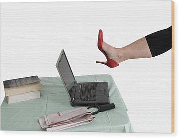 Sexy Woman Kicks A Laptop  Wood Print by Ilan Rosen