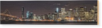 Wood Print featuring the photograph Sfo At Nite by Gary Rose