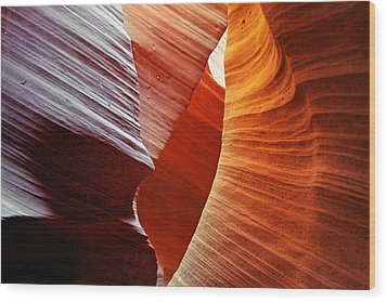 Shades Of Red - Antelope Canyon Az Wood Print by Christine Till