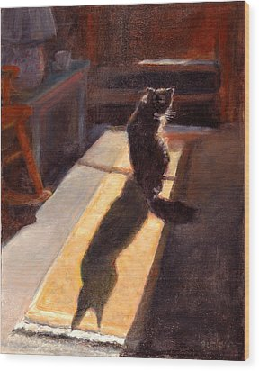 Shadow Cat Wood Print by Rita Bentley