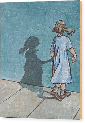 Shadow Play Wood Print by Sandy Tracey