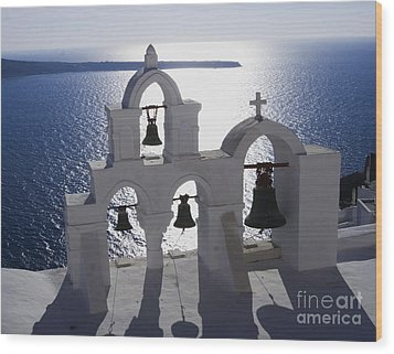 Wood Print featuring the photograph Shadows Of Santorini by Leslie Leda