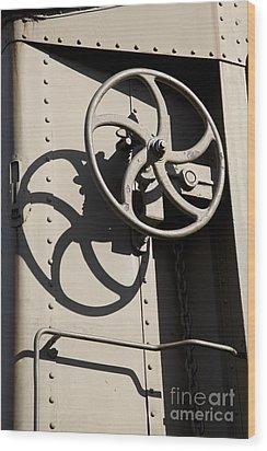 Shadows Of The Train Wood Print by Leslie Leda
