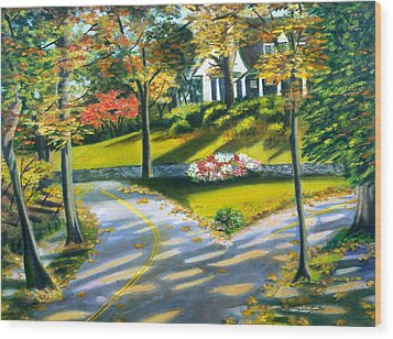 Shadows On The Road Wood Print