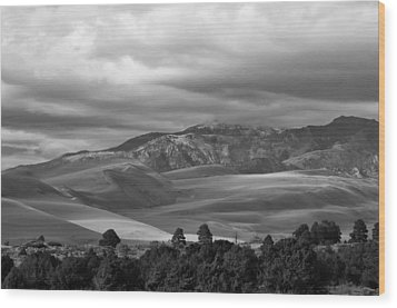 Shadows Sand Mountians Wood Print by Wilma  Birdwell