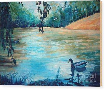 Shady Springs Pond Wood Print by Gretchen Allen
