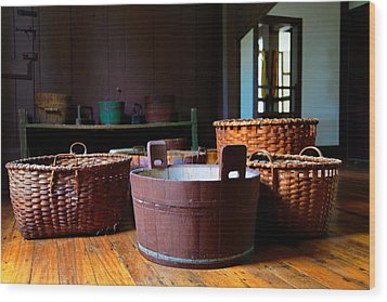 Shaker Baskets Wood Print by Lone Dakota Photography