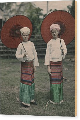 Shan Women Wearing Traditional Colorful Wood Print by W. Robert Moore