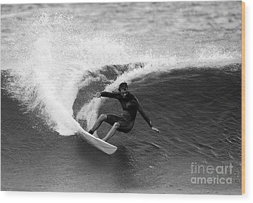 Shane Surf Carving In Black And White Wood Print by Paul Topp