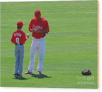 Shane Victorino  Wood Print by Carol Christopher