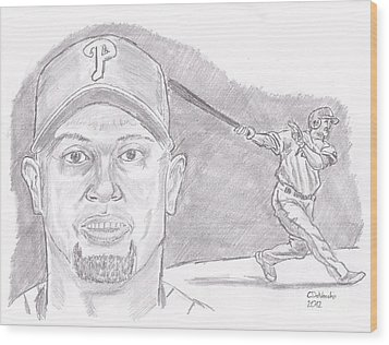 Wood Print featuring the drawing Shane Victorino- Flying Hawaiian by Chris  DelVecchio