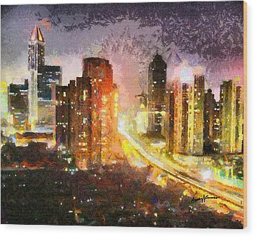 Shanghai Wood Print by Anthony Caruso