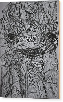 Wood Print featuring the drawing Shango by Gloria Ssali