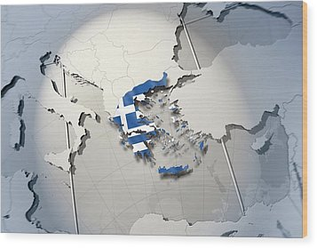 Shape And Ensign Of Greece On A Globe Wood Print by Dieter Spannknebel