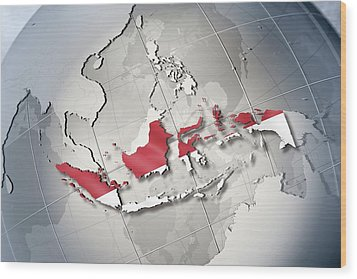 Shape And Ensign Of Indonesia On A Globe Wood Print by Dieter Spannknebel
