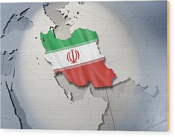 Shape And Ensign Of Iran On A Globe Wood Print by Dieter Spannknebel